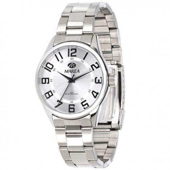 Reloj Marea mujer metálico, esfera gris números grandes