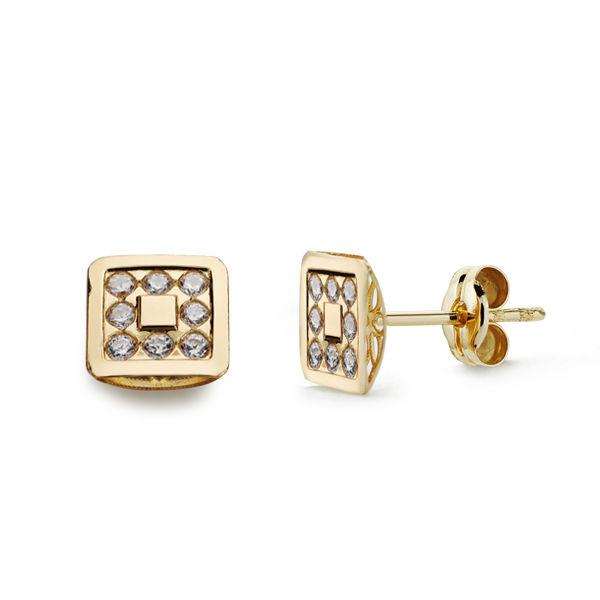 Pendientes oro cuadrados circonitas