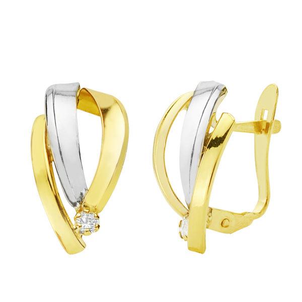 Pendientes oro 18k bicolor bandas