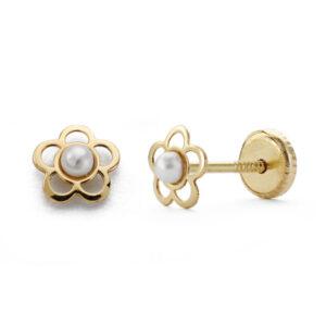 Pendientes oro flor perla dormilona