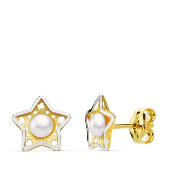 Pendientes estrella perla de oro bicolor de 18 k