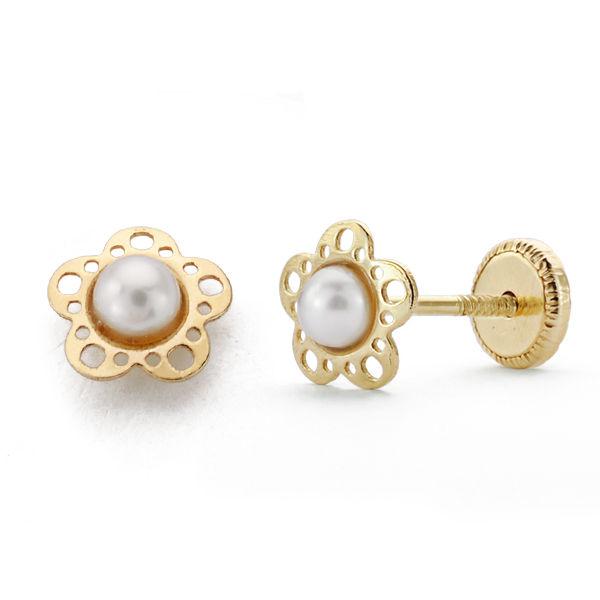 Pendientes oro 18 k flor perla dormilona
