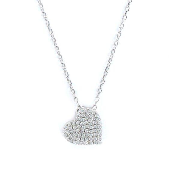 Colgante de plata corazón circonitas con cadenita
