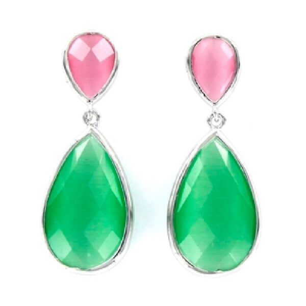 Pendientes plata cristales gota rosa y verde