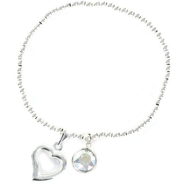 Pulsera plata bolitas corazón swarovski blanco