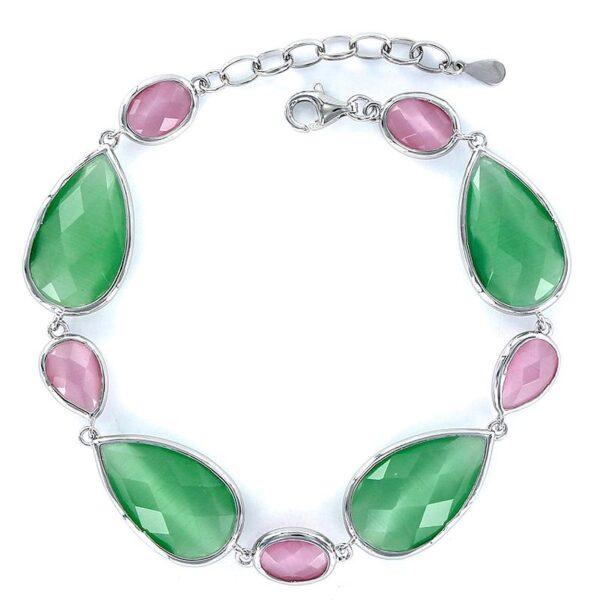 Pulsera plata cristales gota tallados verde rosa