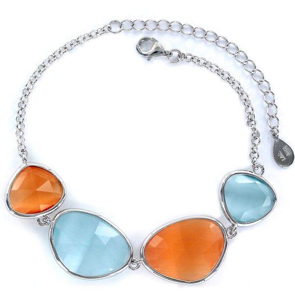 Pulsera plata cristales irregulares anaranjado y azul grisáceo