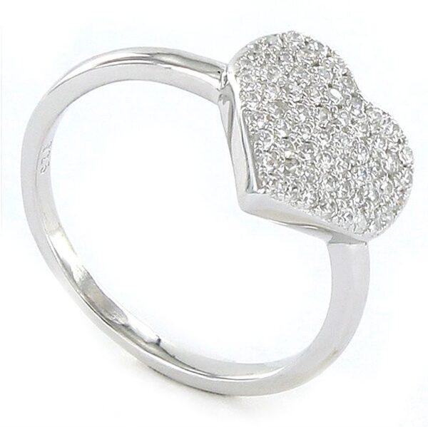 Sortija de plata corazón circonitas