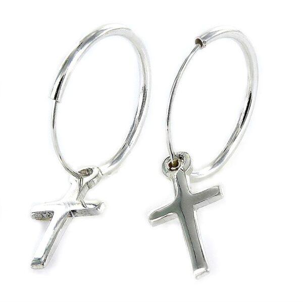 Pendientes plata aro con cruz