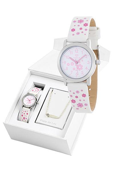 Reloj Marea infantil flores blanco con pulsera