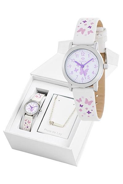 Reloj Marea infantil mariposas blanco con pulsera