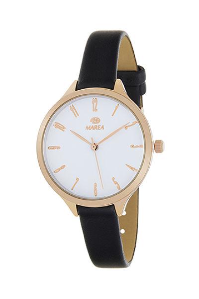 Reloj Marea mujer caja oro rosa correa negra