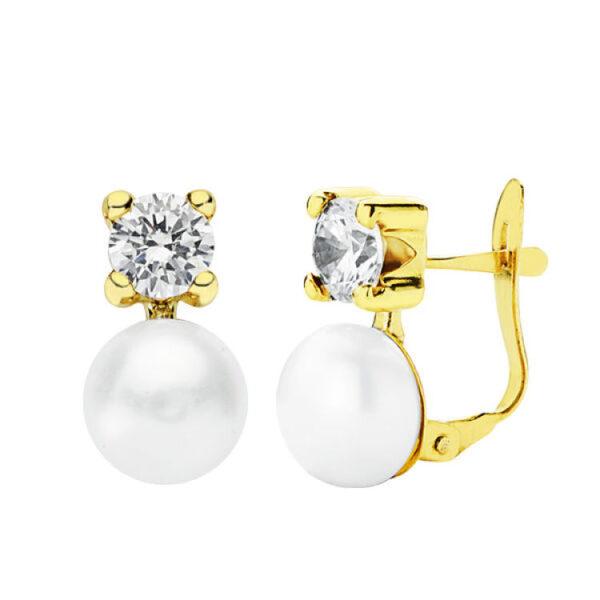 Pendientes oro de 18k tu y yo perla y circonita