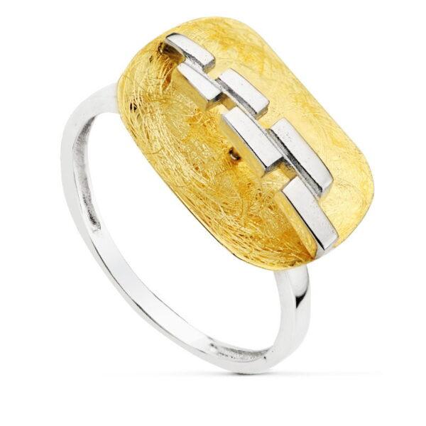Sortija oro de 18k rectángulo bicolor