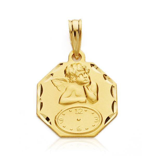 Medalla oro 18k ángel octogonal
