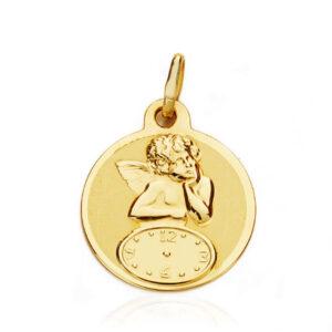 Medalla oro 18k redonda bebé ángel y reloj