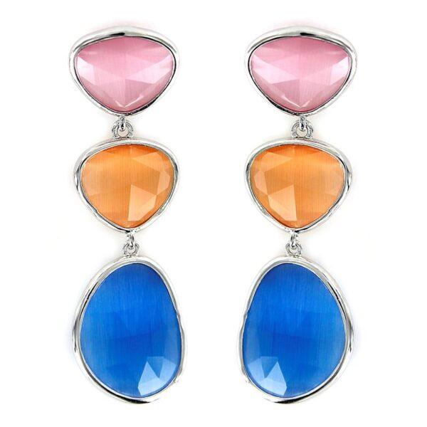 Pendientes plata cristales caramelo rosa y azul