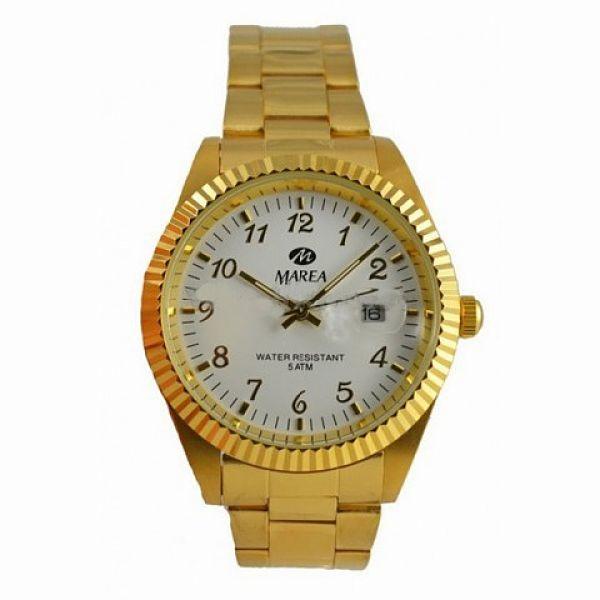 Reloj Marea caballero dorado calendario