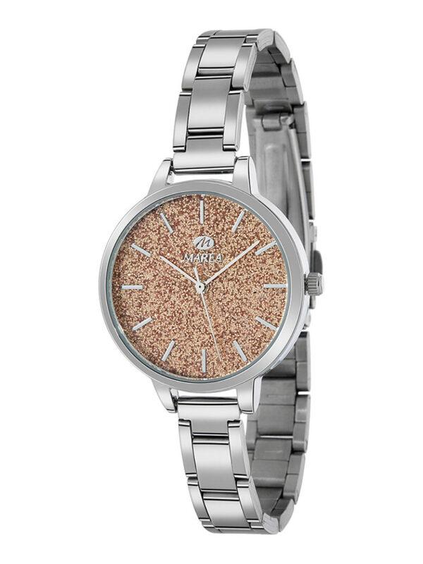 Reloj Marea Trendy acero purpurina cobrizo