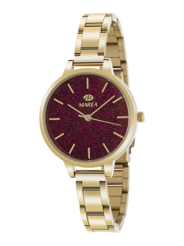 Reloj Marea Trendy dorado purpurina rojo
