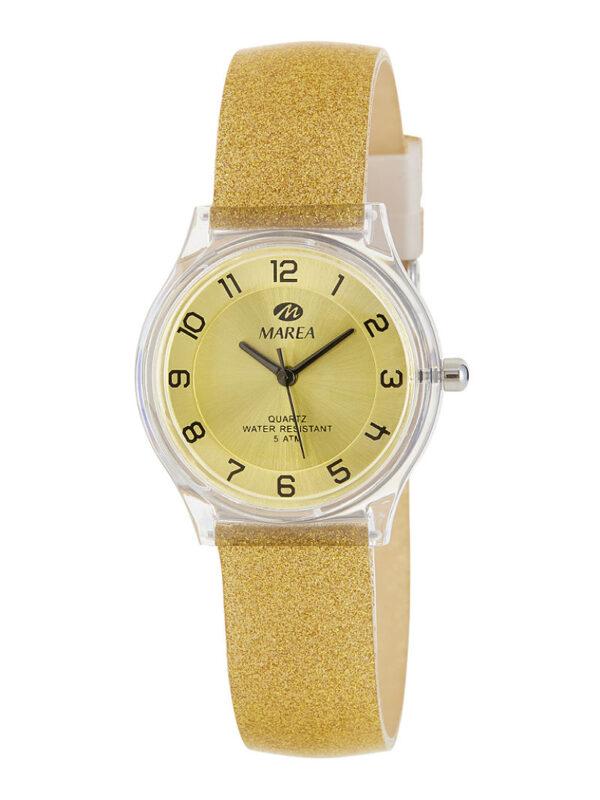 Reloj Marea Trendy caucho purpurina dorado 32 mm