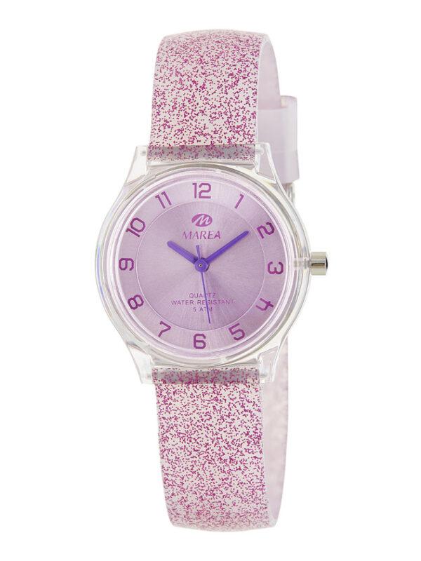 Reloj Marea Trendy caucho purpurina morado 32 mm