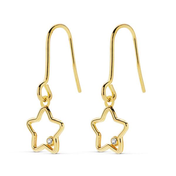 Pendientes oro amarillo estrella colgante