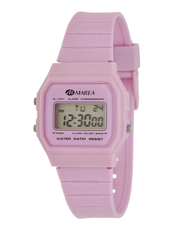 Reloj Marea digital octogonal caucho rosa