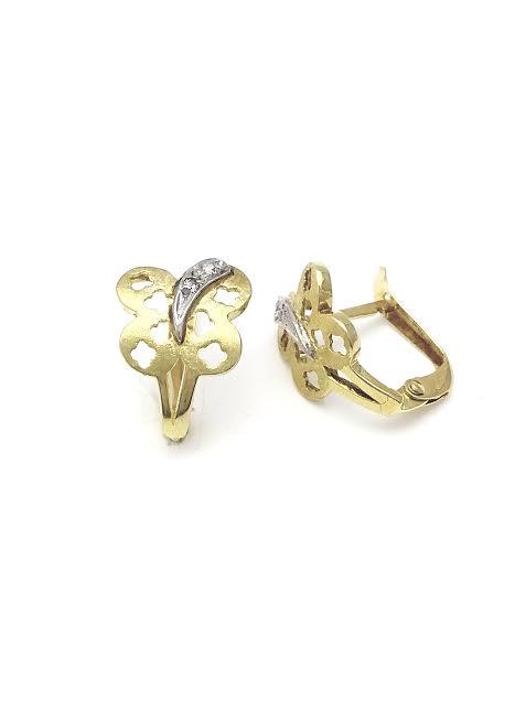Pendientes de oro mariposa