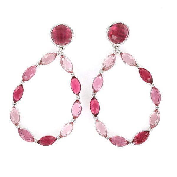 Pendientes plata de ley aro cristales rosas