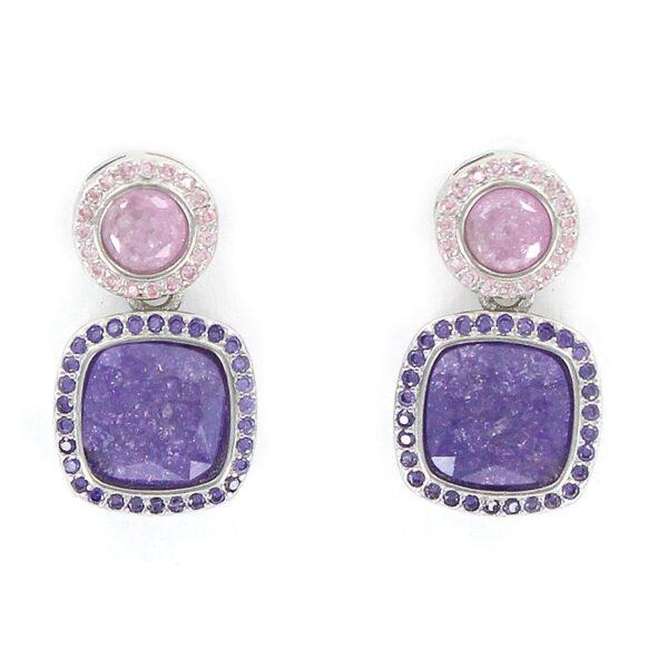 Pendientes plata círculo cuarzo rosa y cuadrado amatista (