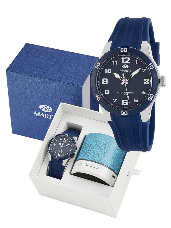 Reloj Marea analógico caucho azul con altavoz