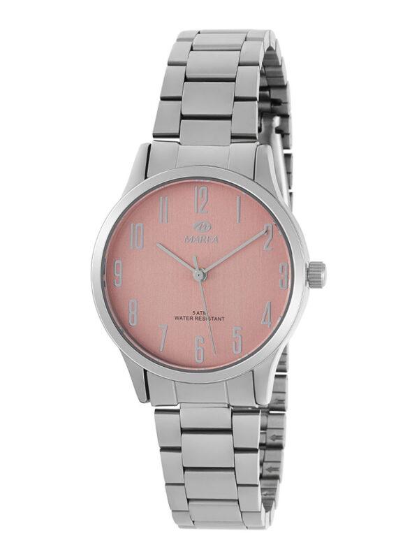 Reloj Marea mujer acero números rosa