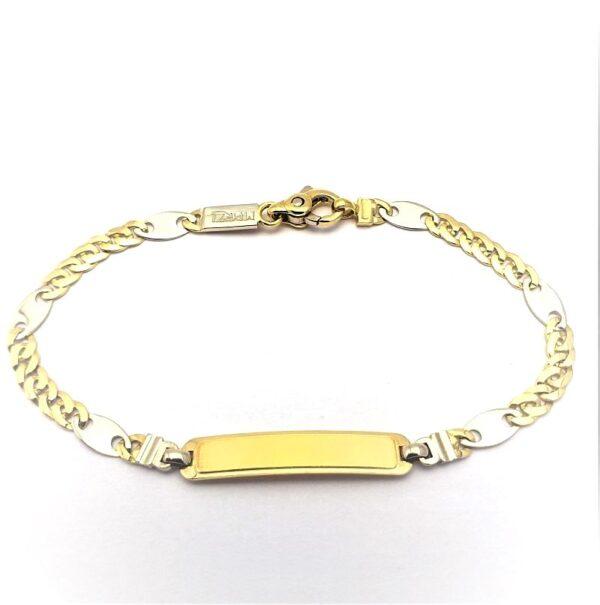 Pulsera de oro de 18k Esclava italiana bicolor