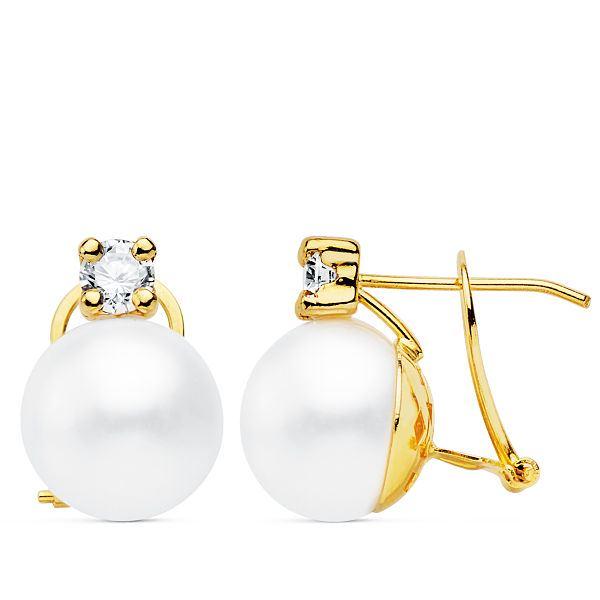 Pendientes oro de 18k tu y yo perla