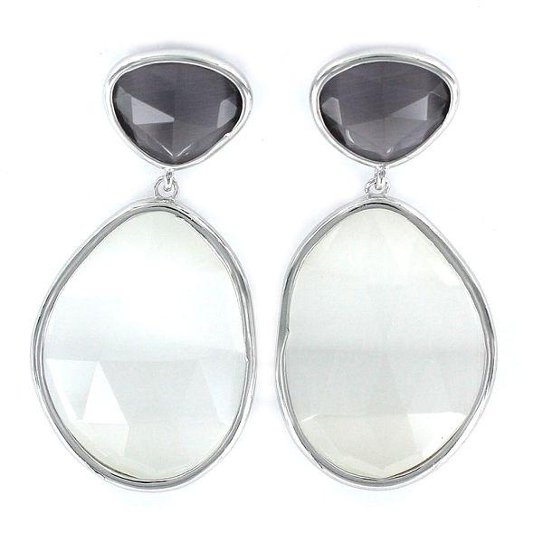 Pendientes plata dos cristales tallados