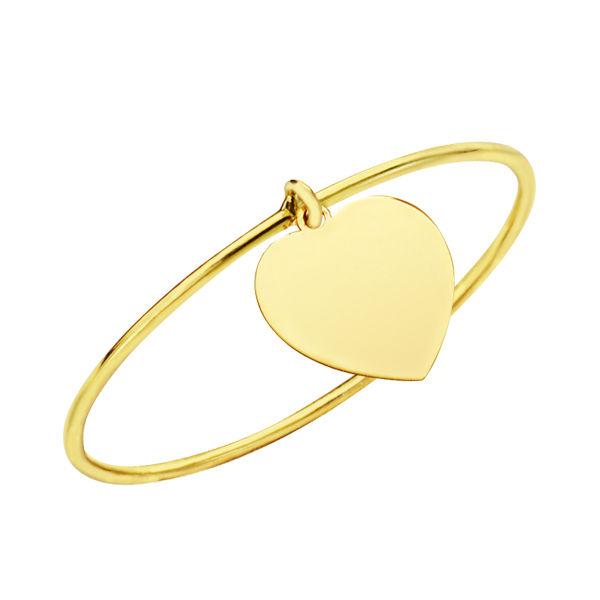 Sortija fina de oro de 18k corazón colgante