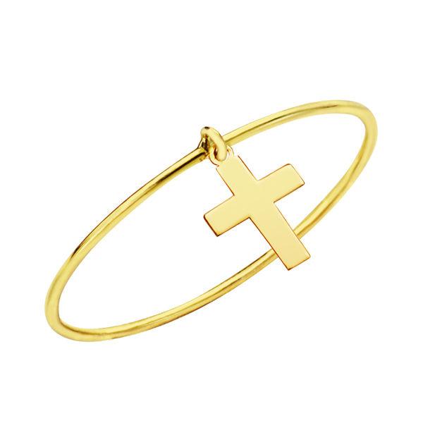 Sortija fina de oro de 18k cruz colgante