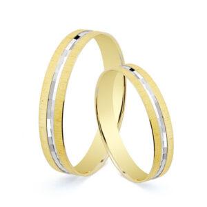 Alianza bicolor plana de oro de 18k de 3,5 mm