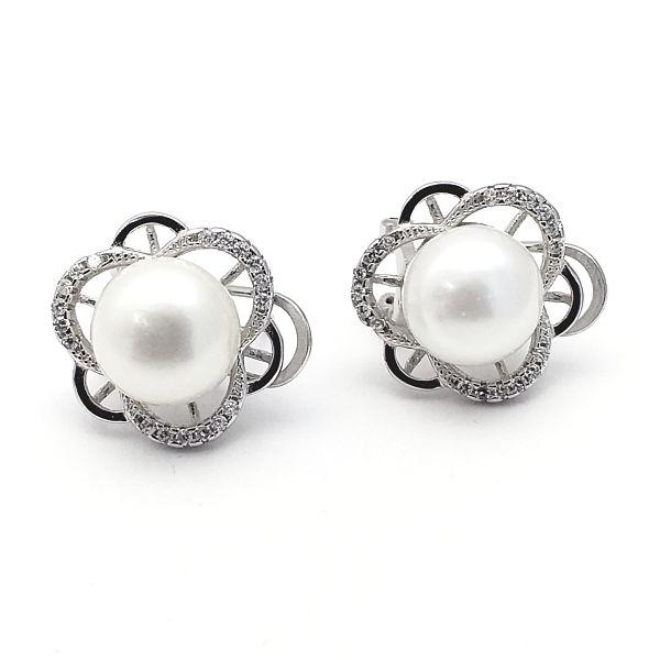 Pendientes plata flor perla