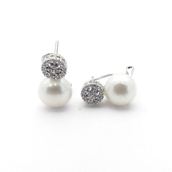 Pendientes plata tu y yo perla círculo circonitas (