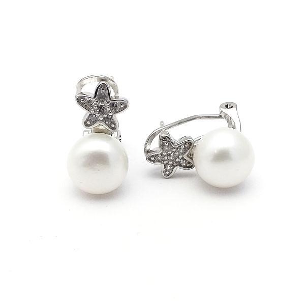 Pendientes plata tu y yo perla estrella de circonitas