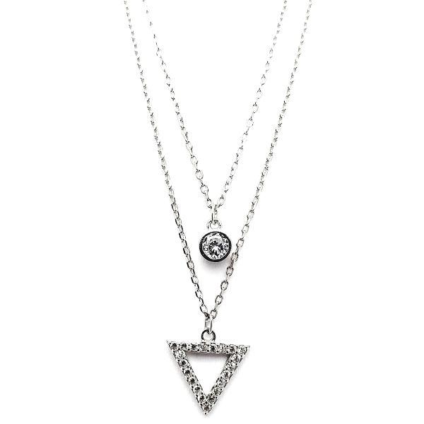 Collar de plata chatón y triángulo