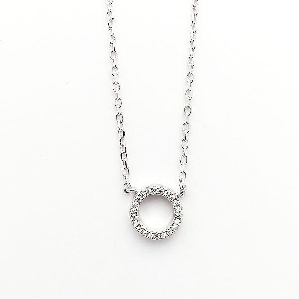 Gargantilla o collar de plata aro circonitas