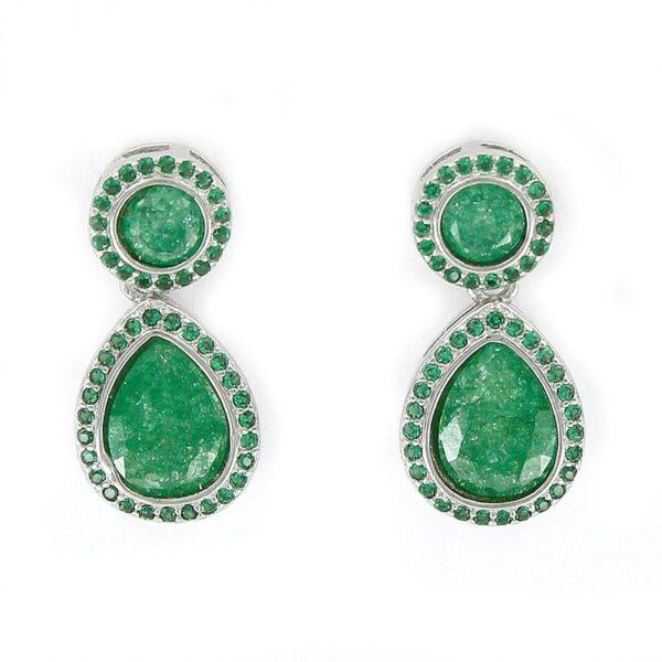 Pendientes plata círculo gota cuarzo verde