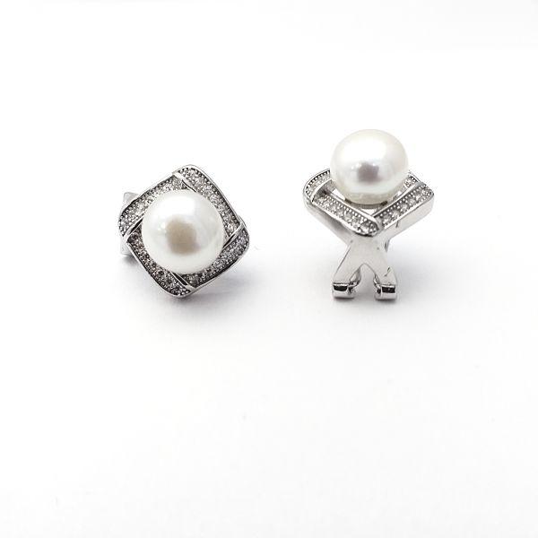 Pendientes plata de ley rombo perla