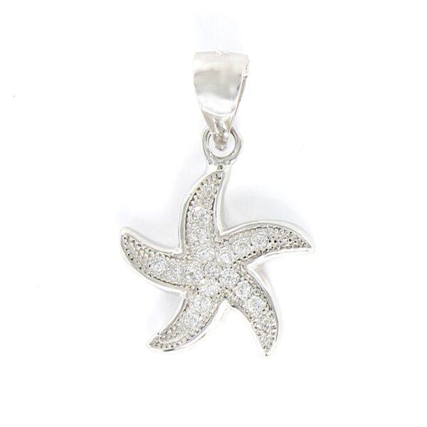 Colgante estrella de mar de plata de ley y circonitas