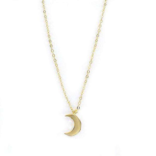 Colgante luna plata chapada con cadena