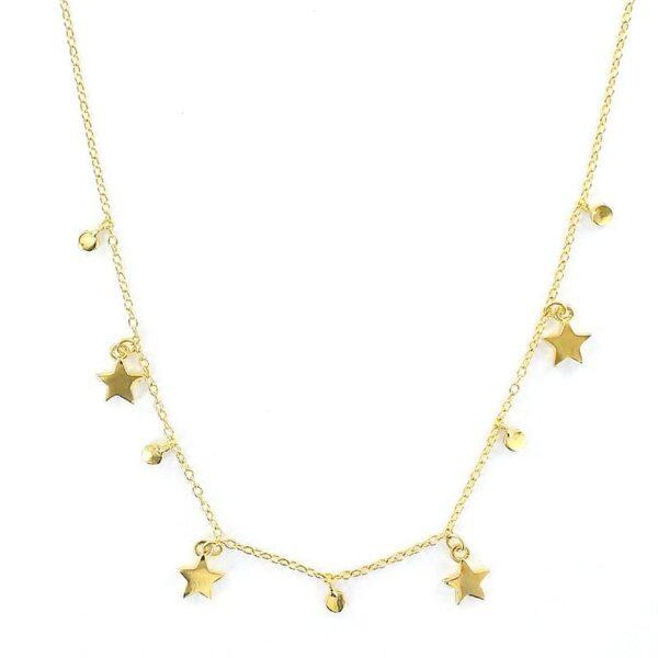Collar estrellas círculos plata chapada