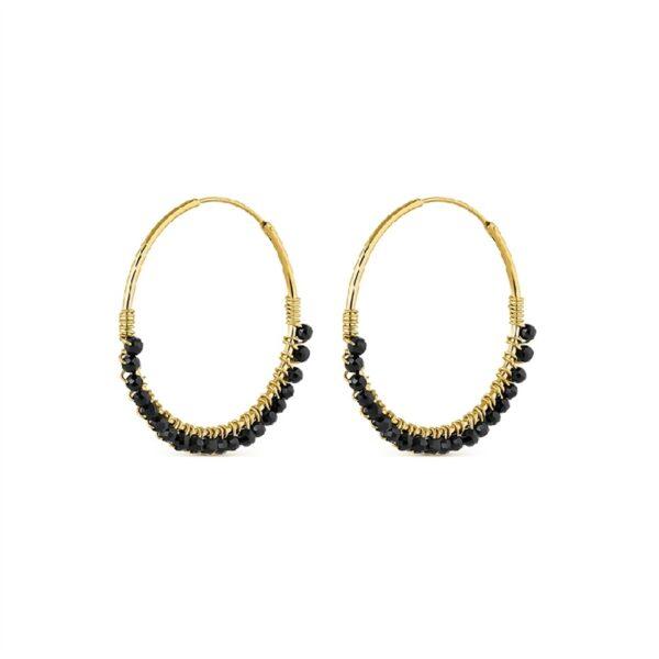 Pendientes aro plata chapada en oro y piedras negras
